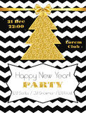 Flyer for 2016 New Year's Eve Party. Celebration with gold detail Stock Photos