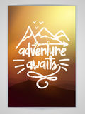 Flyer or Pamphlet for Adventure Awaits. Royalty Free Stock Image
