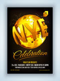 Flyer or Pamphlet for New Year's Eve Party. Elegant Flyer, Banner or Pamphlet with golden disco ball for Happy New Year 2016 Eve Party celebration Stock Photography