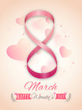Flyer or Pamphlet for Women's Day celebration. Flyer, Banner or Pamphlet with stylish text 8 March made by ribbon for Happy International Women's Day Royalty Free Stock Image