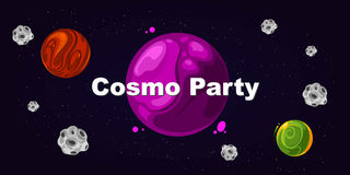 Flyer for party, cosmo party. Poster card template event, vector illustration Royalty Free Stock Photography