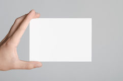 A6 Flyer / Postcard / Invitation Mock-Up. Male hands holding blank flyers on a gray background Royalty Free Stock Images
