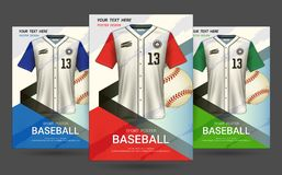 Flyer & Poster Cover design template with Baseball jersey and t-shirt sport mockup uniform. Flyer & Poster Cover design template with Baseball jersey and t royalty free illustration