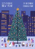 Flyer or poster template with decorated Christmas tree and tiny people walking nearby on city square. Modern vector. Illustration in flat style for outdoor New royalty free illustration