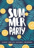 Flyer or poster template decorated with citrus slices and tropical foliage for summer party announcement. Colorful. Vector illustration in flat cartoon style Stock Images
