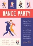 Flyer or poster template with elegant people dancing Argentine tango for dance party or festival advertisement. Modern. Flat cartoon colorful vector stock illustration
