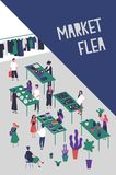 Flyer or poster template for flea market or rag fair with people selling design and fashion goods, vinyl records. Accessories, trendy clothing. Colorful vector Royalty Free Stock Photo
