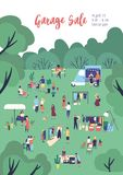 Flyer or poster template for garage sale, outdoor festival, summer fair with food trucks, people buying and selling. Clothes in park. Flat cartoon vector vector illustration