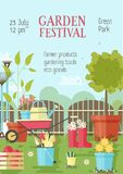 Flyer or poster template with gardening or agricultural tools, equipment for plant cultivation and place for text. Vector illustration in flat style for garden vector illustration