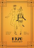Flyer or poster template with pair of man and woman dressed in elegant clothing in 1920s style and dancing Charleston on. Orange background. Vector illustration royalty free illustration