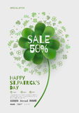 Flyer for a promotional campaign in the St. Patrick's Day. Template banner with clover. Banner with clover can be used in promotions in magazines, on websites Royalty Free Stock Image
