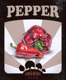 Flyer with red peppers drawn by hand with colored pencil. Retro design. Drawing with crayons. Fresh tasty vegetables painted from nature Stock Photo