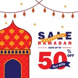 Flyer, Sale, discount, greeting card, label or banner occasion of Ramadan Kareem and Eid Mubarak Celebration. With mosque and lanterns royalty free illustration