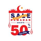 Flyer, Sale, discount, greeting card, label or banner occasion of Ramadan Kareem and Eid Mubarak Celebration. 50% off royalty free illustration