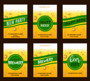 Flyer Set with Beer Drops for Brewery, Craft Beer, Beer Party,Invitation,Poster,Business Card. Vector Illustration Stock Photos
