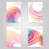 Flyer set. 4 flyers on gray background. With colorful wave design. Vector layout Stock Photos