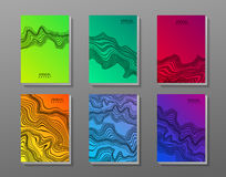 Flyer set with waves. vector illustration