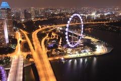 Flyer. Singapore bay marina top view royalty free stock photos