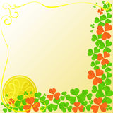 Flyer for St.Patricks Day. Background for St.Patricks Day with Shamrock Leaves, Ribbon and Golden Coin with Celtic Symbol. Vector Background with Free Space Royalty Free Stock Photo
