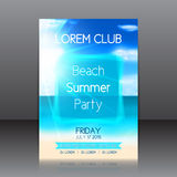 Flyer for a summer party with background with seashore Stock Photography