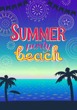 Flyer summer sea design of a beach party. Stock Photo