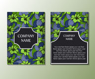 Flyer template with abstract floral ornament pattern. Royalty Free Stock Photos