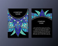 Flyer template with abstract ornament pattern. Greeting card design. Front page and back page Royalty Free Stock Images