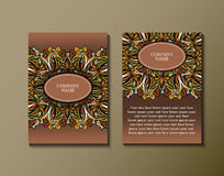 Flyer template with abstract ornament pattern. Greeting card design. Front page and back page. Vector Stock Photos