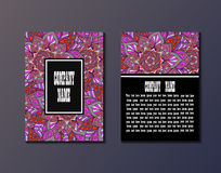 Flyer template with abstract ornament pattern. Greeting card design. Front page and back page. Vector Stock Images