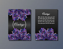 Flyer template with abstract ornament pattern. Greeting card design. Front page and back page. Vector Stock Photography