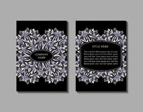 Flyer template with abstract ornament pattern. Greeting card design. Front page and back page. Vector Royalty Free Stock Images