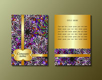 Flyer template with abstract ornament pattern. Greeting card design. Front page and back page. Vector Royalty Free Stock Photos