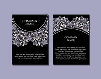 Flyer template with abstract ornament pattern. Greeting card design. Front page and back page. Vector Royalty Free Stock Image