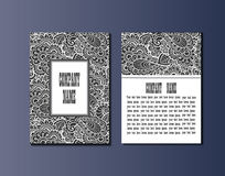 Flyer template with abstract ornament pattern. Greeting card design. Front page and back page. Vector Stock Image