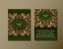 Flyer template with abstract ornament pattern. Greeting card design. Front page and back page. Vector Royalty Free Stock Photography