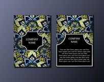 Flyer template with abstract ornament pattern. Greeting card design. Front page and back page. Vector Stock Photo