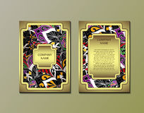 Flyer template with abstract ornament pattern. Stock Photo