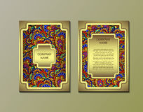Flyer template with abstract ornament pattern. Vector greeting card design. Front page and back page Stock Photography