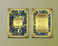 Flyer template with abstract ornament pattern. Vector greeting card design. Front page and back page Royalty Free Stock Photo