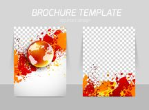 Flyer template back and front design. With grunge texture and globe Stock Images