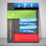 Flyer, template and banner for dance academy. Dance Academy flyer, template or banner design with details Royalty Free Stock Image