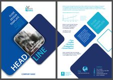 Flyer Template with Blue Rounded Squares Stock Images