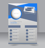 Flyer template. Business brochure. Editable A4 poster. For design, education, presentation, website, magazine cover. Blue color Royalty Free Stock Photo