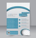 Flyer template. Business brochure. Editable A4 poster. For design, education, presentation, website, magazine cover. Blue color Stock Photography