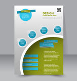 Flyer template. Business brochure. Editable A4 poster. For design, education, presentation, website, magazine cover. Blue and green color Stock Image