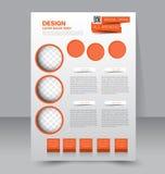 Flyer template. Business brochure. Editable A4 poster. For design, education, presentation, website, magazine cover. Orange color Stock Images