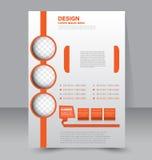 Flyer template. Business brochure. Editable A4 poster. For design, education, presentation, website, magazine cover. Orange color Stock Image