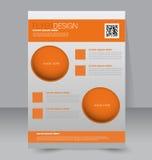 Flyer template. Business brochure. Editable A4 poster. For design, education, presentation, website, magazine cover. Orange color Royalty Free Stock Image