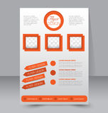 Flyer template. Business brochure. Editable A4 poster. For design, education, presentation, website, magazine cover. Orange color Royalty Free Stock Photography