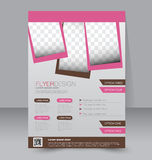 Flyer template. Business brochure. Editable A4 poster. For design, education, presentation, website, magazine cover. Pink and brown color Royalty Free Stock Photo